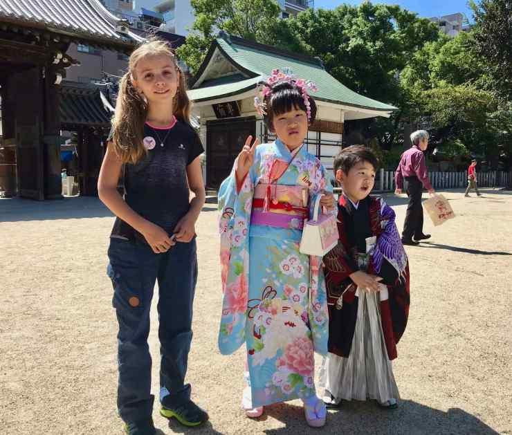 Eden et Enfants en Kimono - Osaka