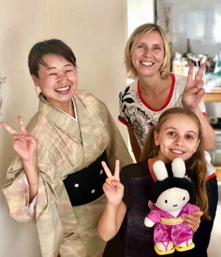 Yoko et nous, après le cours de cuisine, Osaka