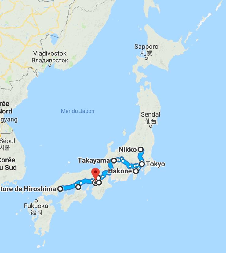 Notre Itinéraire au Japon
