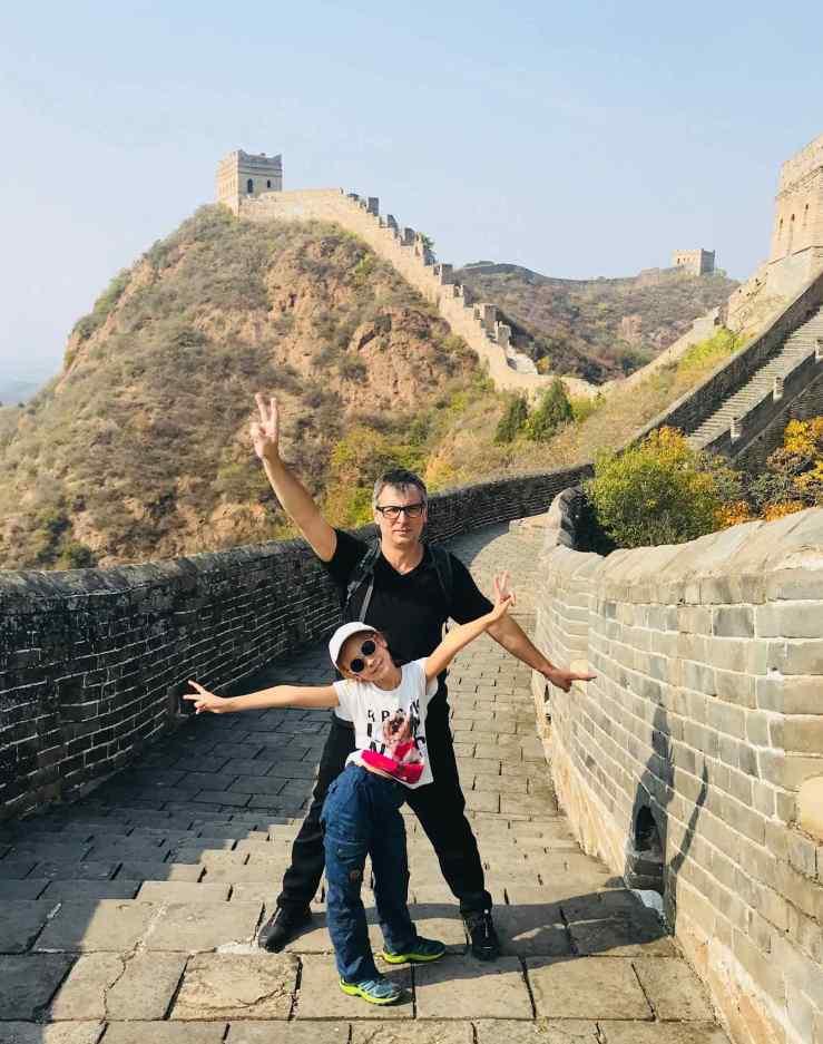 Papa et moi sur la grande muraille - Jinshanling - Chine