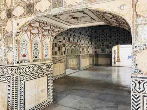 Salle d'audiences tout en marbre et miroirs - Amber Palace - Rajasthan - Inde