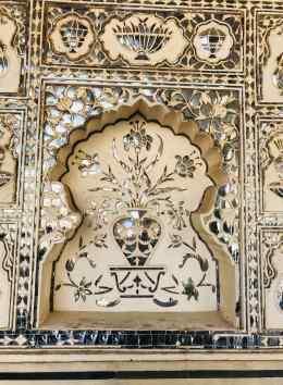 Marbre sculpté et imiroirs- Amber Palace - Rajasthan - Inde