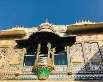 Détail extérieur d'une fenêtre - City Palace - Udaipur - Rajasthan - Inde
