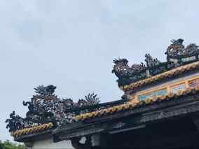 Détail de sculpture sur le toit d'un pavillon - Cité impériale - Hue - Vietnam