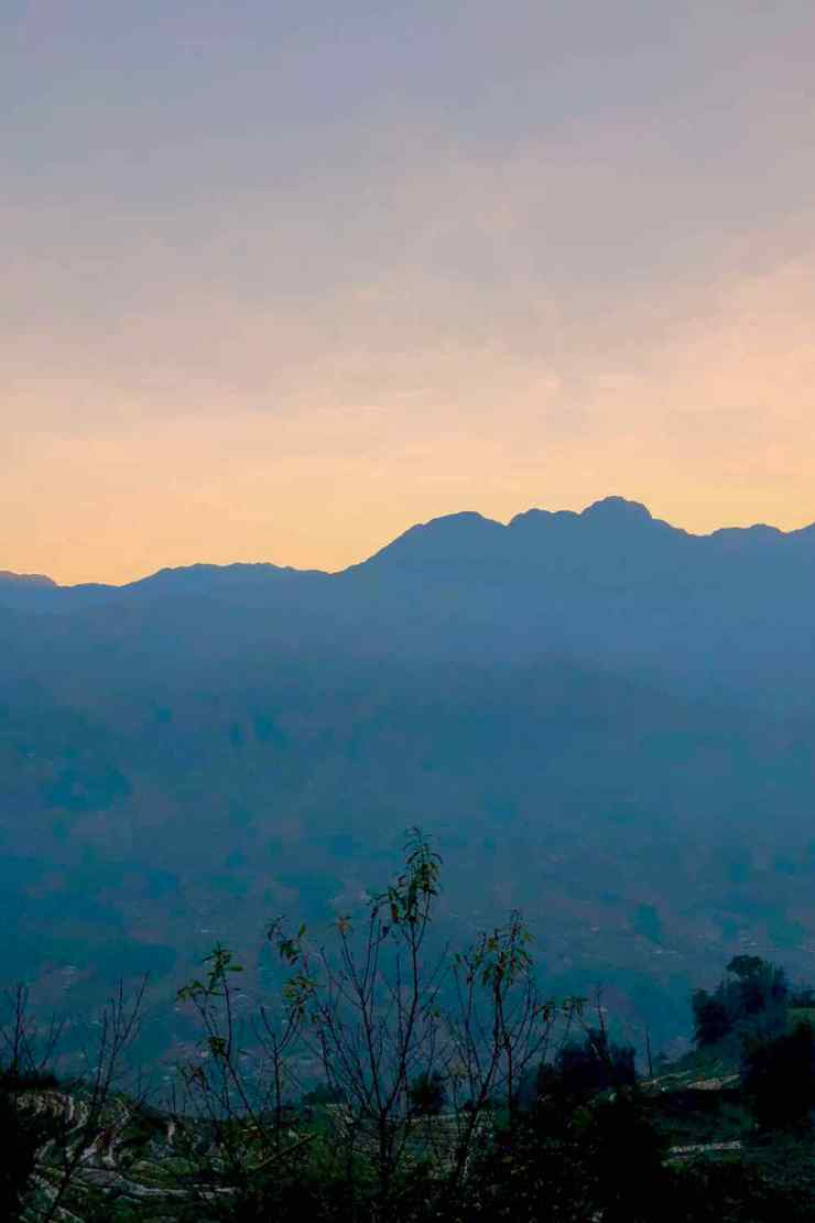Coucher de soleil depuis la maison de Sing - Région de Sapa - Vietnam