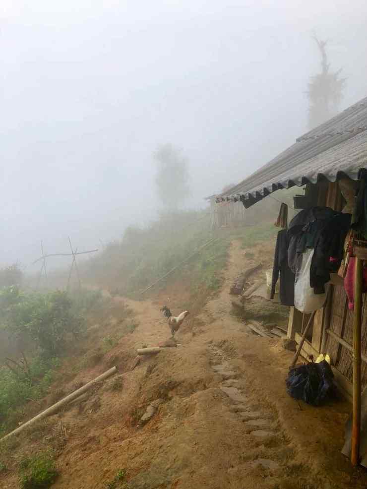 Maison de Sing au petit jour dans la brume - Région de Sapa - Vietnam