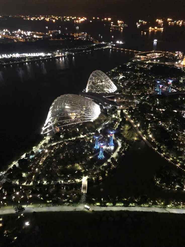 Les serres du Garden By The Bay depuis le Marina Bay Sand - Singapour