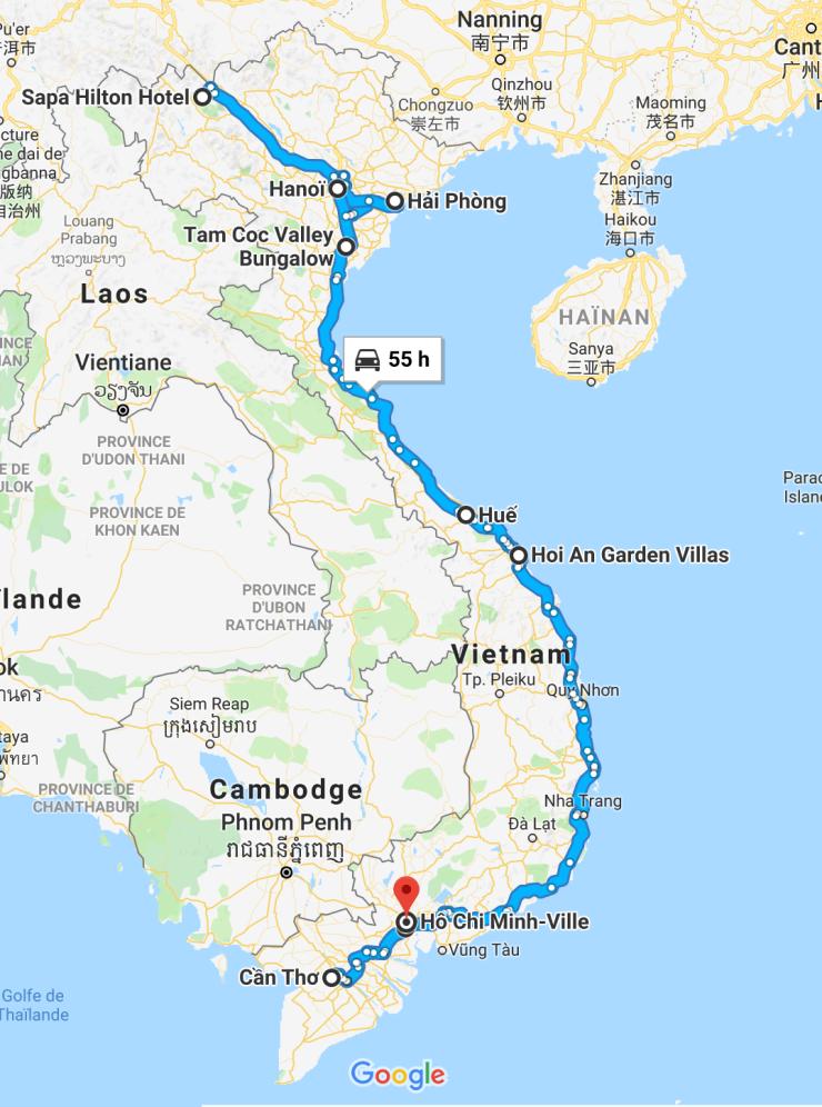 Notre itinéraire au Vietnam