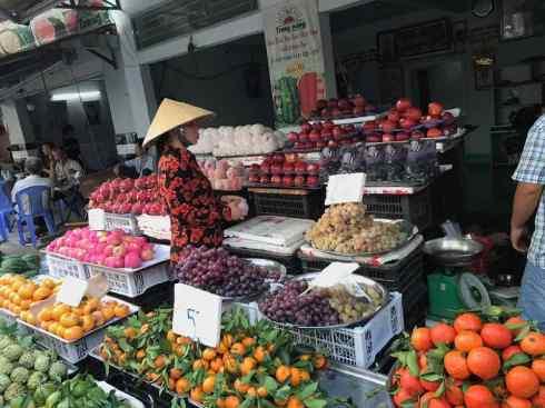 Sur le marché terrestre de Can Tho - Vietnam