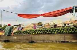 Bateau vendeur de pastèques - Marché flottant - Can Tho - Vietnam