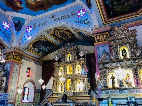 Intérieur parfaitement restauré après le tremblement de terre - Eglise de Baclayon - Bohol - Philippines