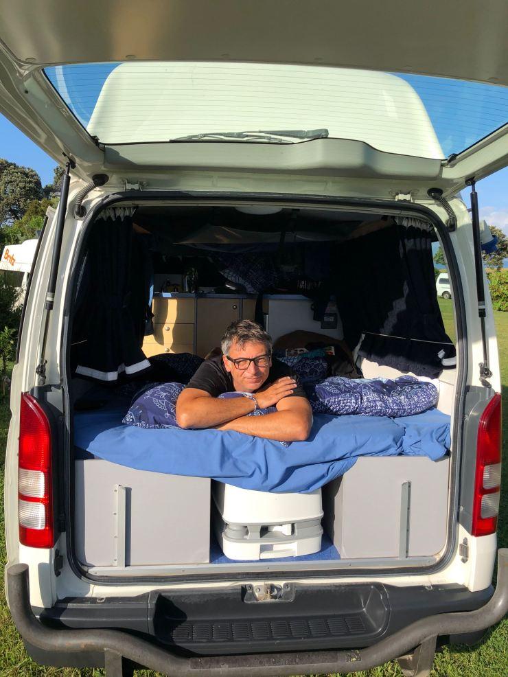 Premier réveil dans le van - Ambury Regional Park - Nouvelle Zélande