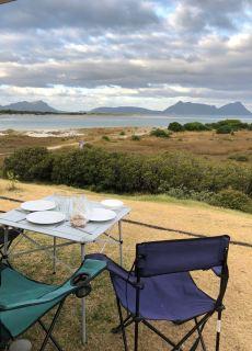 Diner à Ruakaka Beach, vue de notre van - Northland - Nouvelle Zélande