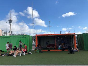Container reconverti en café éphémère - Port d'Auckland - Nouvelle-Zélande