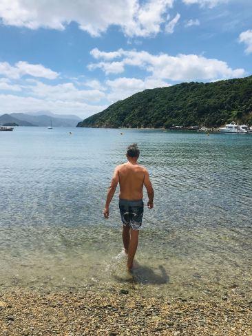 Même pas froid Geoffrey ! - Baignade à Picton - Nouvelle-Zélande