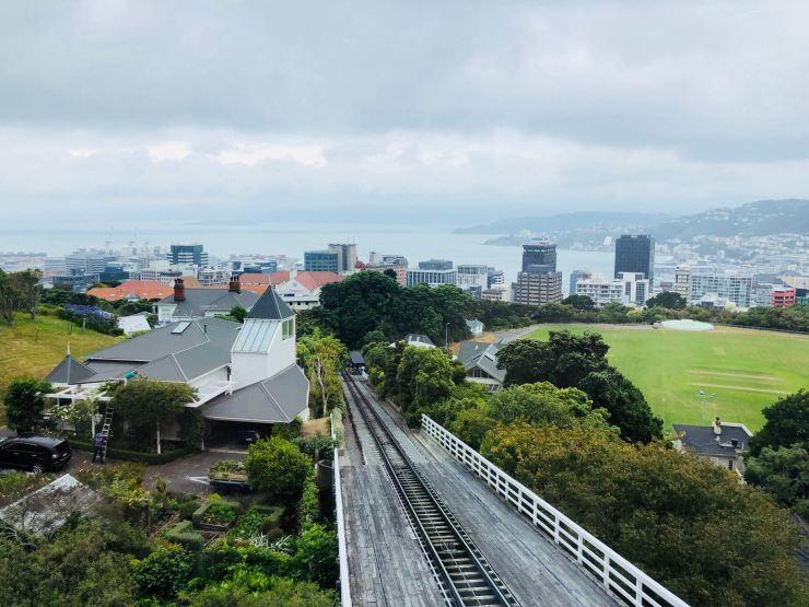 Vue sur la ville depuis le haut du funiculaire - Wellington - Nouvelle-Zélande