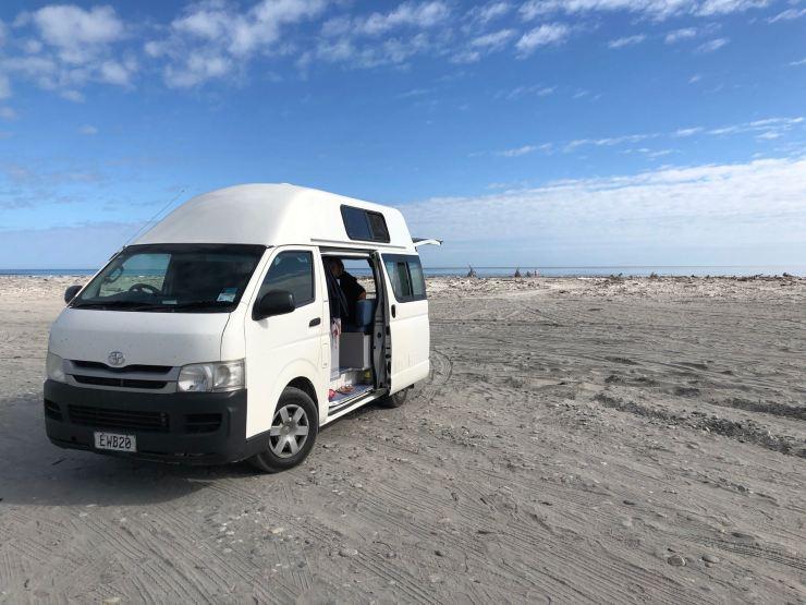 Petit déjeuner sur la plage - Westport - Nouvelle-Zélande