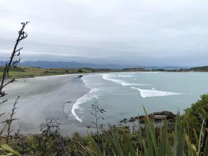 Vue sur la plage vers Cape Fouldwind sur le chemin pour voir des phoques - Environs de Westport - Nouvelle-Zélande