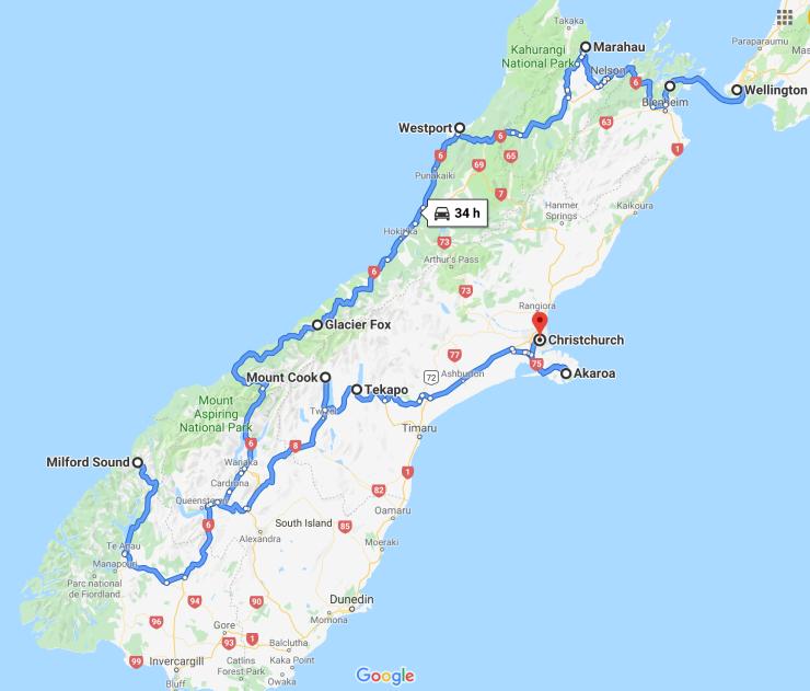 Itinéraire Ile Sud - Nouvelle Zélande
