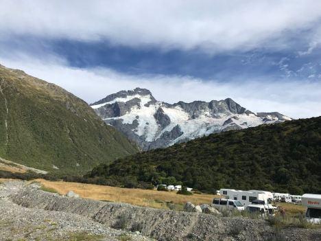 Notre campement face au Mueller Glacier - Mont Cook - Nouvelle-Zélande