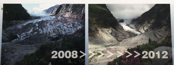 En 4 ans, on peut voir le recul ! - Glacier Franz Joseph - Nouvelle-Zélande