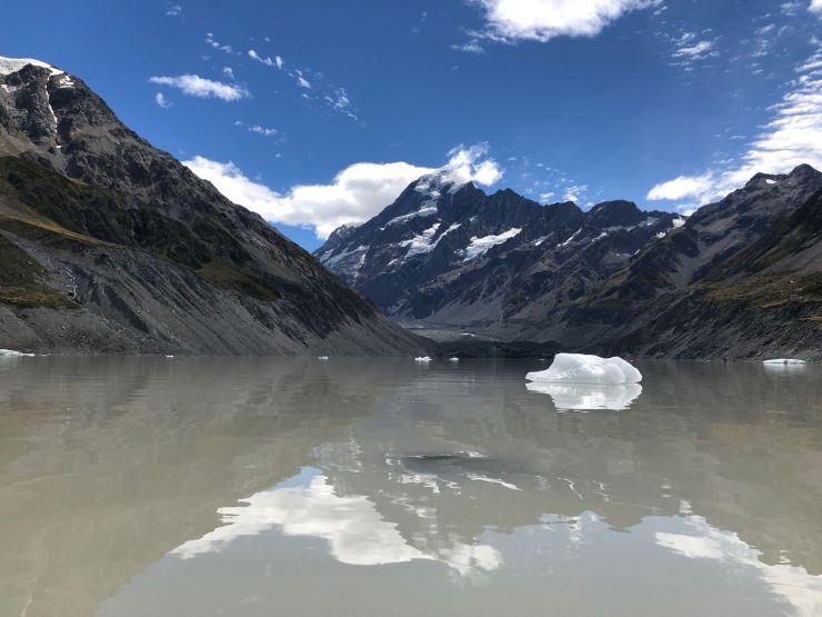 Hooker Lake, Icebergs et jeu de miroirs - Mont Cook - Nouvelle Zélande