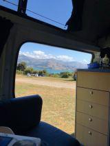Vue depuis le van - Banks Peninsula - Nouvelle-Zélande