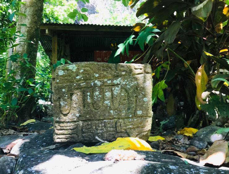 Pétroglyphe donnant le nom d'une maison - Vallée d'Hakaui - Nuku Hiva - Iles Marquises - Polynésie