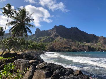 Paysage Marquisien entre cocotiers, mer et montages - Hiva Oa - Iles Marquises - Polynésie
