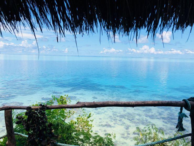 Vue depuis notre table de pique-nique - Huahine - Polynésie