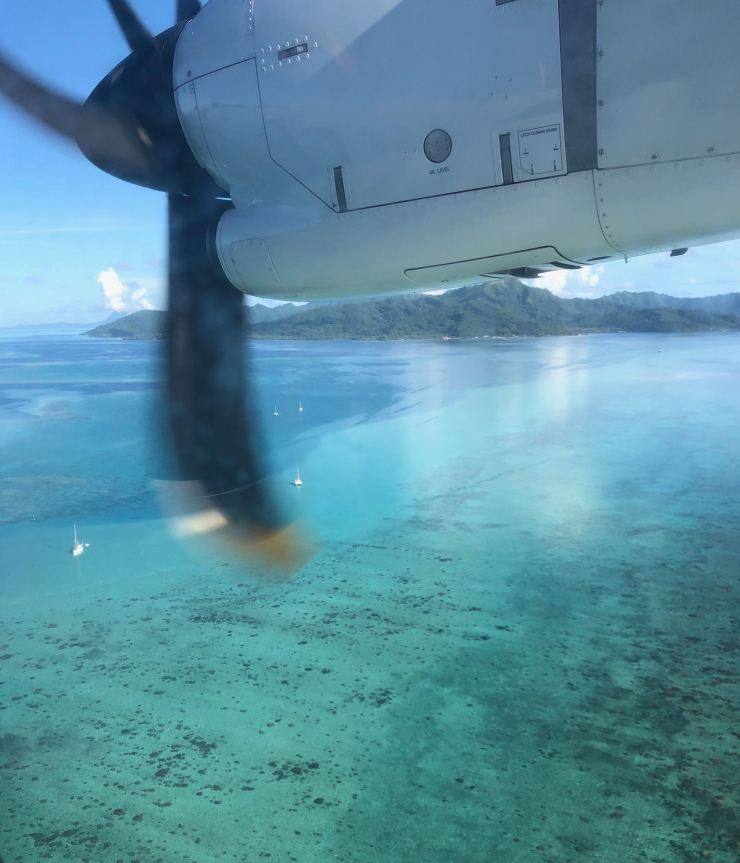 Arrivée à Huahine - Lagon vu du ciel - Polynésie