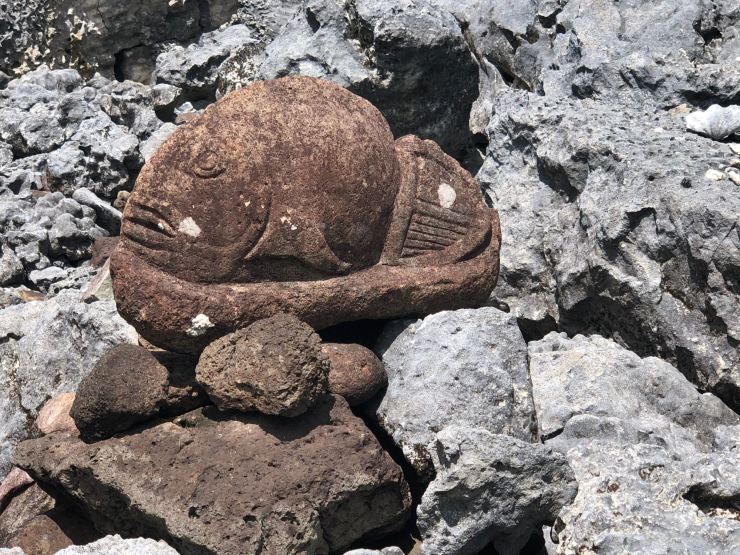 Pétroglyphe poisson - Marae Taputapuatea - Raiatea - Polynésie