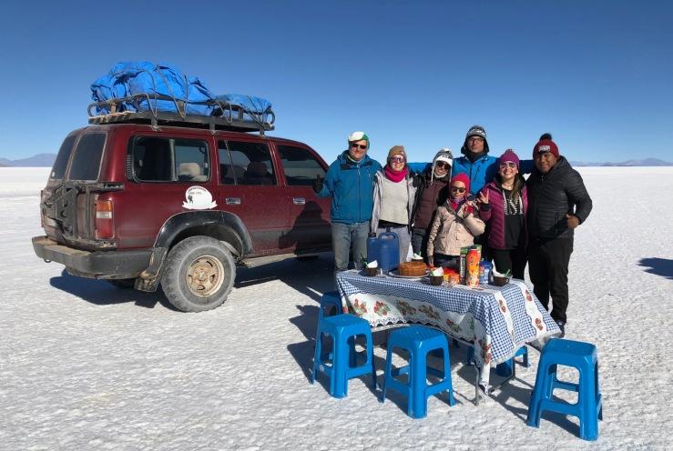 Petit déjeuner dans le Salar d'Uyuni - Bolivie