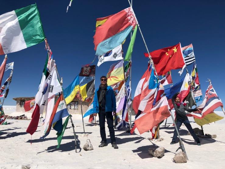 Drapeaux- Salar d'Uyuni - Bolivie